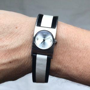 Skagen Designs Black & White leather watch